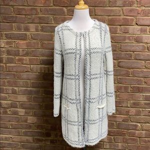 August Silk L/S Open Front Long Cardigan Sweater